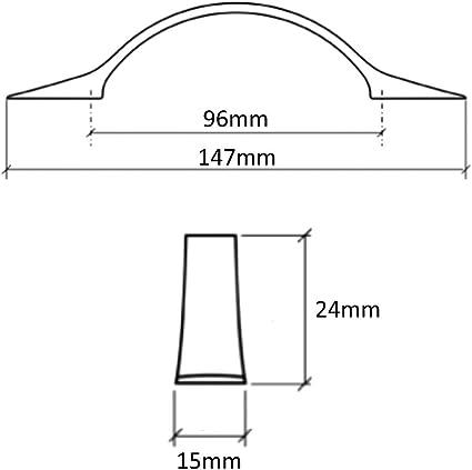 AERZETIX 10x Tirador para caj/ón alacena puerta mueble armario M/ékong plata sat/én 32mm C41386