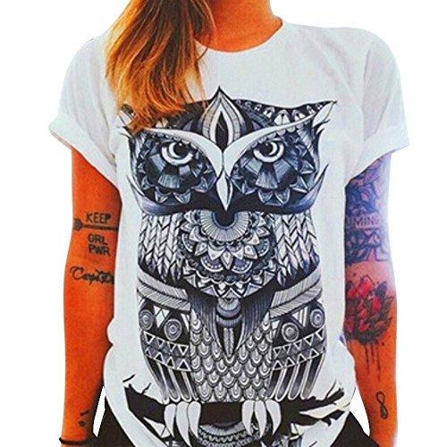 Hemd Damen Kolylong Frau Beiläufig Owl Drucken Muster T-Shirt (M)