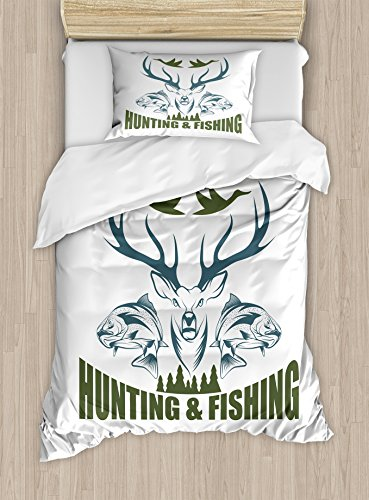 Ambesonne Hunting Duvet Cover Set Twin Size, Animals Emblem Moose Head Horns Trout Salmon Sea Fishes, Decorative 2 Piece Bedding Set with 1 Pillow Sham, Olive Green