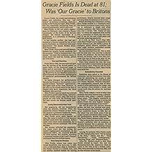 Gracie Fields Obituary original clipping magazine photo 1pg 6x8 #R2668