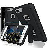 Software : iPhone 7 Plus Case, iPhone 6s/6 Plus Case, MaiKuo Dual Layer Heavy Duty Rugged Shock-Absorption Non-slip Bumper Kickstand + Tempered Glass Screen Protector Cover Skin For Apple 5.5 Inch_Black