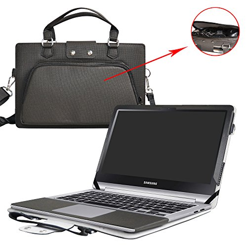 "Price comparison product image Notebook 7 Spin 15 Case, 2 in 1 Accurately Designed Protective PU Leather Cover + Portable Carrying Bag for 15.6"" Samsung Notebook 7 Spin 15 Laptop, Black"