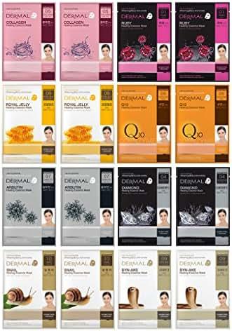 DERMAL Advanced Healing Collagen Essence Full Face Mask Facial Mask Sheet 28g 16 Combo Pack