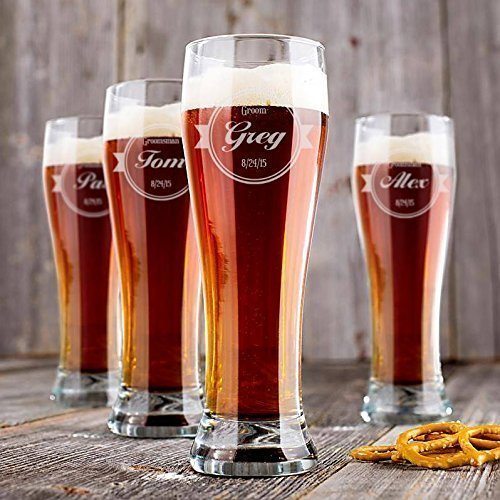 Personalized Wedding Pilsner Glasses - Set of 6