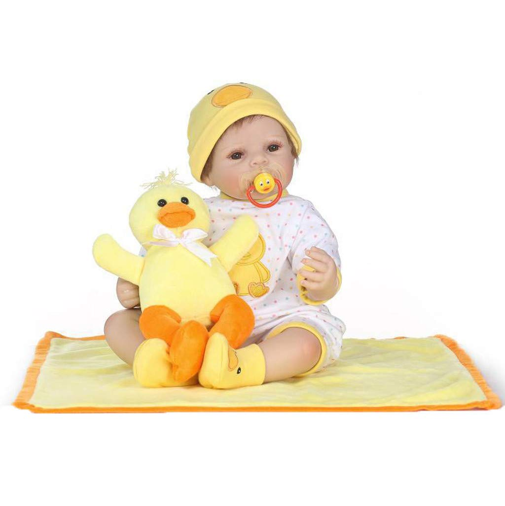 Lifelike Baby Duck Doll Lucoo Surprise Baby Reborn Doll Lifelike Realistic Doll with Clothes Silicone 22'' 55cm Weighted Doll Princess Doll Best Playmate Xmas Birthday Gift (Yellow) by Lucoo Baby