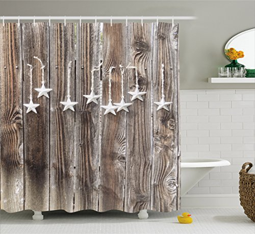 Primitive Country Decor Shower Curtain by Ambesonne, Silver Colored Ornate Stars on Wooden Rustic Fence Cabin Print, Fabric Bathroom Decor Set with Hooks, 70 Inches, Brown Silver