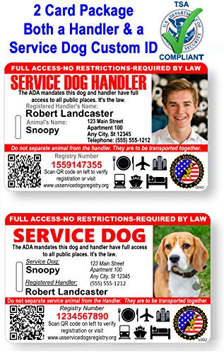 Just 4 Paws Custom Holographic QR Code Service Dog & a Handler ID Card with Registration to Service Dogs Registry with Strap - Landscape Style (Service Dog and Handler Bundled IDs)