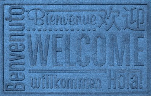Rectangle Welcome Mat - AquaShield Worldwide Welcome Mat, 2 by 3-Feet, Medium Blue