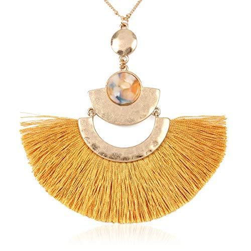 - RIAH FASHION Bohemian Fringe Tassel Pendant Statement Necklace - Silky Strand Semi Circle Thread Fan Charm Long Chain (Fan Tassel - Mustard)