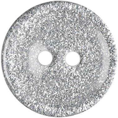 Impex Glitzer-Kn/öpfe Kunststoff rund silberfarben