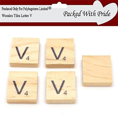 Pack de 10 – Scrabble Azulejos de madera con letras de color negro – Azulejos se producen y empaquetado especialmente para polybagstores limitada® Letter V: Amazon.es: Hogar