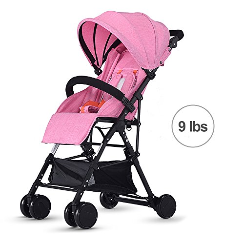 SpringBuds Toddler Super Lightweight Stroller Easy to Fold Toddler Portable Pushchair with Recline Seat-Pink