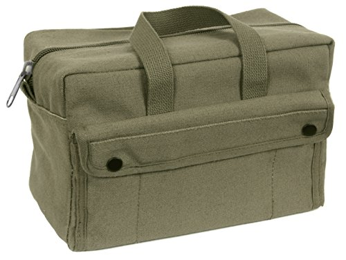 G & F 10095 Government Issued Style Mechanics Heavy Duty Tool Bag with Brass zipper and side pockets, tool bag for cars, drill, garden, and electrician. Olive Green