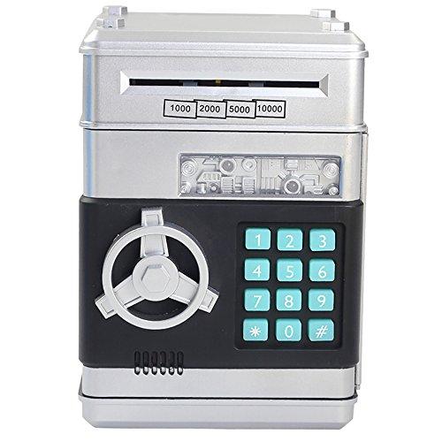 MyLifeUNIT Electronic Password Piggy Bank, Carton Money Saving Box for Kids with Lock (Silver)