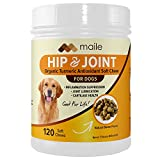 Organic Turmeric Antioxidant Hip and Joint Supplement, Exclusive New Formula, PurForMSM, Glucosamine HCL, Chondroitin Sulfate, Made in The USA, 120 Soft Chews for Dogs, Bacon Flavor