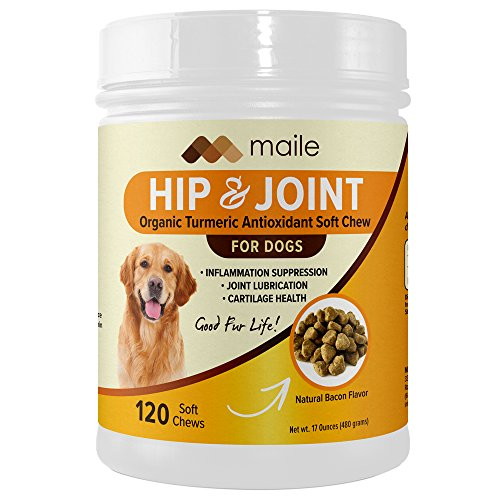 Organic Turmeric Antioxidant Hip and Joint Supplement, Exclusive New Formula, PurForMSM, Glucosamine HCL, Chondroitin Sulfate, Made in The USA, 120 Soft Chews for Dogs, Bacon Flavor ()