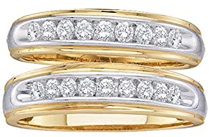 10kt Yellow Gold His & Hers Round Diamond Matching Wedding Band Set 1/2 Cttw