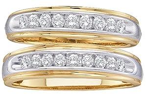 10kt Yellow Gold His & Hers Round Diamond Matching Wedding Band Set 1/2 Cttw