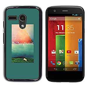 YOYOYO Smartphone Protección Defender Duro Negro Funda Imagen Diseño Carcasa Tapa Case Skin Cover Para Motorola Moto G 1 1ST Gen I X1032 - texto verde verde azulado cita de motivación