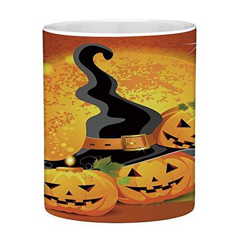 Lead Free Ceramic Coffee Mug Tea Cup White Halloween 11 Ounces Funny Coffee Mug Witches Hat Spooky Pumpkins Magical Night Autumn Nature Full Moon Light Orange Green Black]()