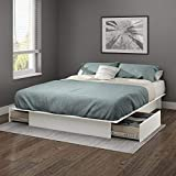 South Shore Gramercy Full/Queen Platform Bed (54/60) with drawers, Pure White