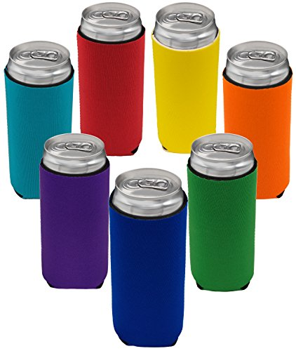 Neoprene Slim Can Sleeves - Fits 12 oz Energy Drink & Beer Slim Cans - Pack of 7 | Red Blue Yellow Orange Green Turquoise Purple (7, Multi Color)