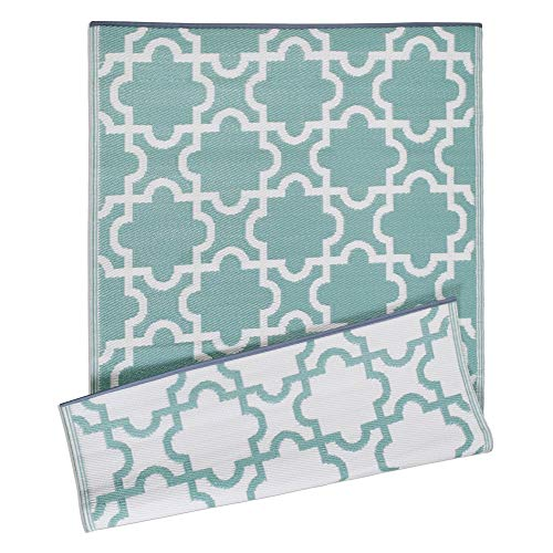 DII Moroccan Indoor/Outdoor Lightweight, Reversible, & Fade Resistant Area Rug, Use For Patio, Deck, Garage, Picnic, Beach, Camping, BBQ, Or Everyday Use - 4 x 6', Green Lattice (For Carpet Decks Best Outdoor)