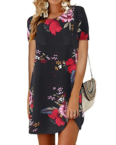 SUNNYME Women's Floral Mini T Shirt Dresses Half Sleeve Bowknot Summer Loose Tunics Black1 L