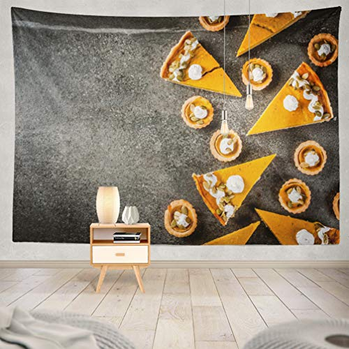 KJONG Halloween-Pumpkin Decorative Tapestry,Traditional Autumn Halloween Thanksgiving Spicy Pumpkin Pie 60X80 Inches Wall Hanging Tapestry for Bedroom Living -