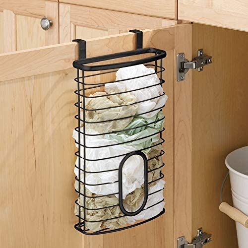 51zgr3UCf9L. AC mDesign Metal Over Cabinet Kitchen Storage Organizer Holder or Basket - Hang Over Cabinet Doors in Kitchen/Pantry - Holds up to 50 Plastic Shopping Bags - Matte Black    Transform your under-sink and kitchen cabinets from cluttered and crowded to streamlined and organized with the Kitchen Cabinet Storage Organizer Basket from mDesign. Each organizer hangs over cabinets doors for instant storage. The large basket provides plenty of room to store up to 50 plastic grocery bags in one convenient place. Hang inside cabinets for discreet storage, or on the outside of doors to make grabbing what you need quick and easy.
