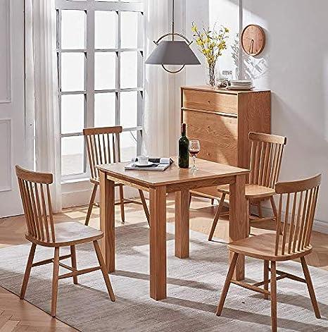 Murong Solid Oak Small Square Dining Table For 4 People Kitchen Dining Table For Small Spaces 80 X 80 X 75 Cm Amazon De Kuche Haushalt