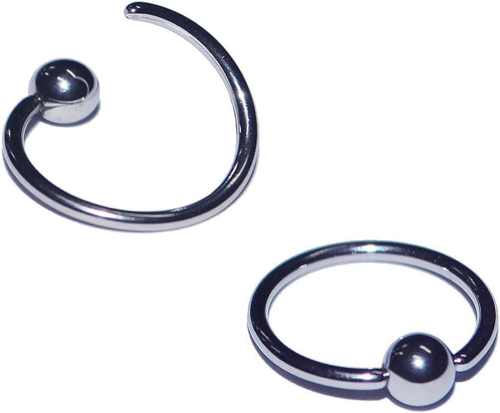 "1-4 Set Segment Ring Seamless 2G Silver 1//2/"" 5//8/"" Captive Bead Ring Septum Lip"