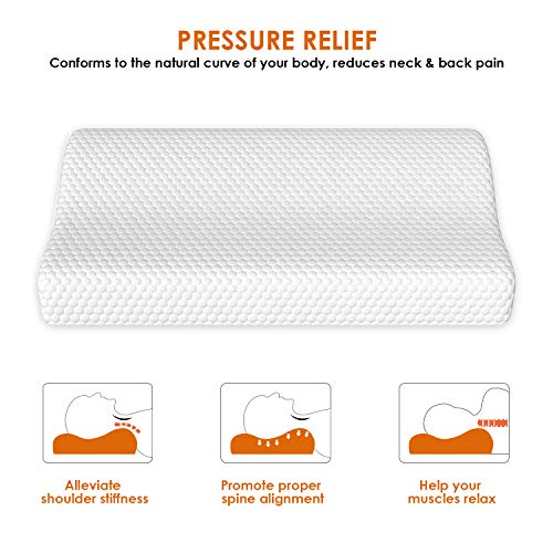 OOFO Memory Foam Pillow, Sandwich Pillow Contour Pillow with Scube Knitted Fabric Cover for Neck Support Sleeping Bed Pillow, CertiPUR-US Certified, Standard Size