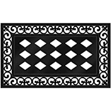 "Evergreen Flag Black Fleur-de-lis Decorative Rubber and Polyester Sassafras Mat Tray - Door Mat Sold Separately - 30""W x 18"" H"