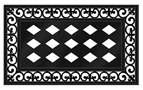 "Evergreen Flag Black Fleur-de-lis Decorative Rubber and Polyester Sassafras Mat Tray - Door Mat Sold Separately - 30""W x 18'' H by Evergreen Flag"