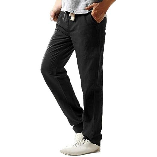 b52ad7ec15fa27 Sunfei Men s Casual Slim Strandhosen Linen Hose Pant Solid Trousers (Black