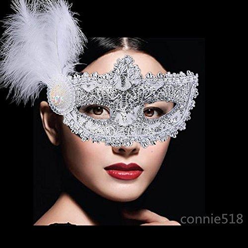 Women's Fancy Crochet Lace Masquerade Party Mask Party Costume Dnace Ball Eye Mask (White (Makeup With Masquerade Masks)