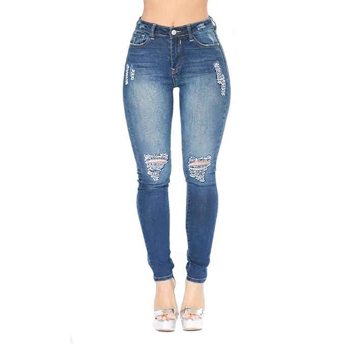 Amazon.com: Pantalones vaqueros ajustados con dobladillo ...