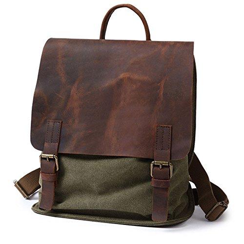Mochila Bolsa de tela Vintage Ocio Mochila Bolsa de lona mochila para espesar reforzado Daypacks Maletín unisex, senderismo, campamentos,caqui Ejército verde