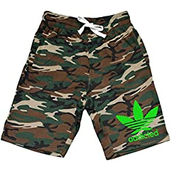 Men's Addicted Weed Leaf V355 Camo Fleece Jogger Sweatpant Gym Shorts Small Black
