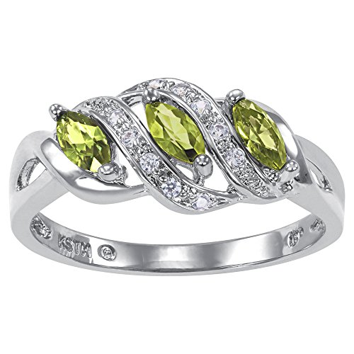 ArtCarved Heart Charm Simulated Peridot Birthstone Women's Ring, Sterling Silver, Size 4.5