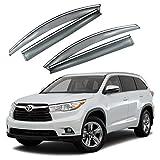 VXMOTOR for 2014-2017 Toyota Highlander - Chrome Trim Smoke Tinted Window Visor Rain Guard Deflector Injection Molding Polycarbonate - PC Material (HIGH15)