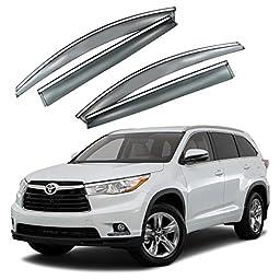 VXMOTOR 2014-2017 Toyota Highlander Chrome Trim Smoke Tinted Window Visor Rain Guard Defector