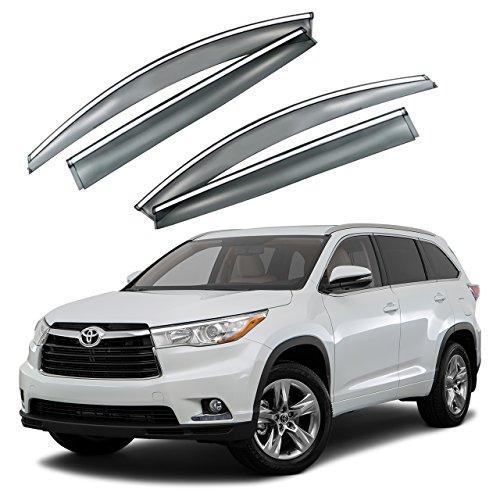 - VXMOTOR for 2014-2017 Toyota Highlander - Chrome Trim Smoke Tinted Window Visor Rain Guard Deflector Injection Molding Polycarbonate - PC Material (HIGH15)