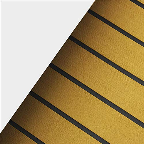 Anddoa EVA Foam Deep Yellow with Black Strip Boat Flooring Faux Teak Decking Sheet Pad - #003