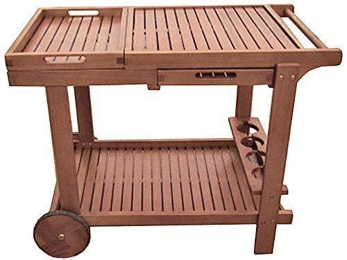 Benelando Vielseitiger Servierwagen aus Holz mit 2 abnehmbaren Tabletts