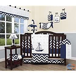 GEENNY Baby Nautical Explorer Boy's 13 Piece Nursery Crib Bedding Set