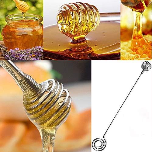 YJYdada Stainless Steel Honey Dipper Stirring Stick Jam Rod Spoon Dip Drizzler Server