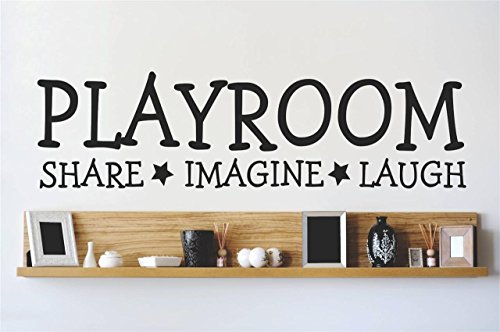 """Wall Decal Quote Playroom Share Imagine Laugh Kids Room Children Parenting Toys Vinyl Sticker Home Decor Wall Decal CHILDRENS ROOMS Size 8"""" x 20"""", Black"""