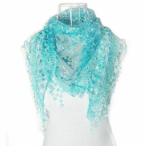 Bolayu Fashion Lace Tassel Sheer Burntout Floral Print Triangle Mantilla Scarf Shawl (Blue ) - Sheer Floral Scarf